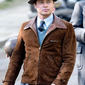 Allied Brad Pitt Suede Leather Jacket 4