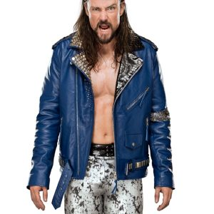 Wrestler Brian Kendrick Blue Leather Jacket 31