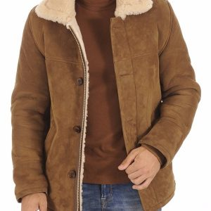 Man Classic Suede Shearling Jacket 4
