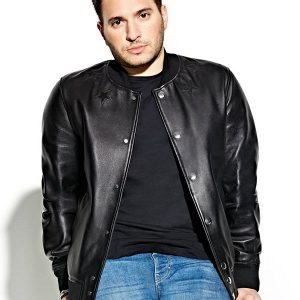 DJ Jonas Blue Varsity Leather Jacket 3