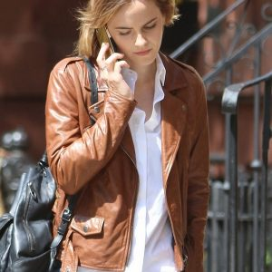 Emma Watson Brown Leather Jacket 40