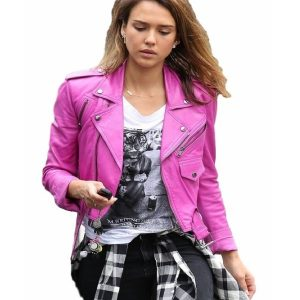 Jessica Alba Pink Leather Jacket 35