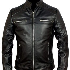 Cafe Racer Classic Biker Leather Jacket 36