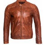 Men Slim Fit Quilted Retro Biker Jacket