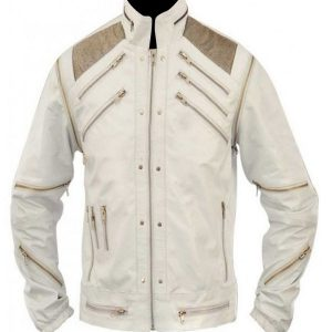 Michael Jackson Beat It White Leather Jacket 16