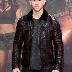 Premiere Jumanji Nick Jonas Leather Jacket 4
