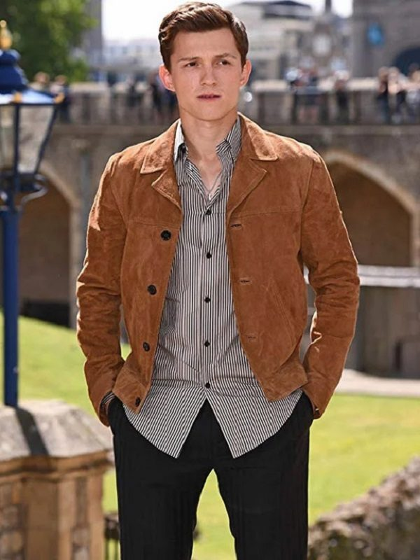 Tom Holland Brown Suede Leather Jacket 1