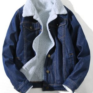 BLUE DENIM JEANS SHEARLING COLLAR JACKET