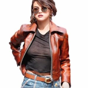 Selena Gomez Stylish Leather Jacket 8