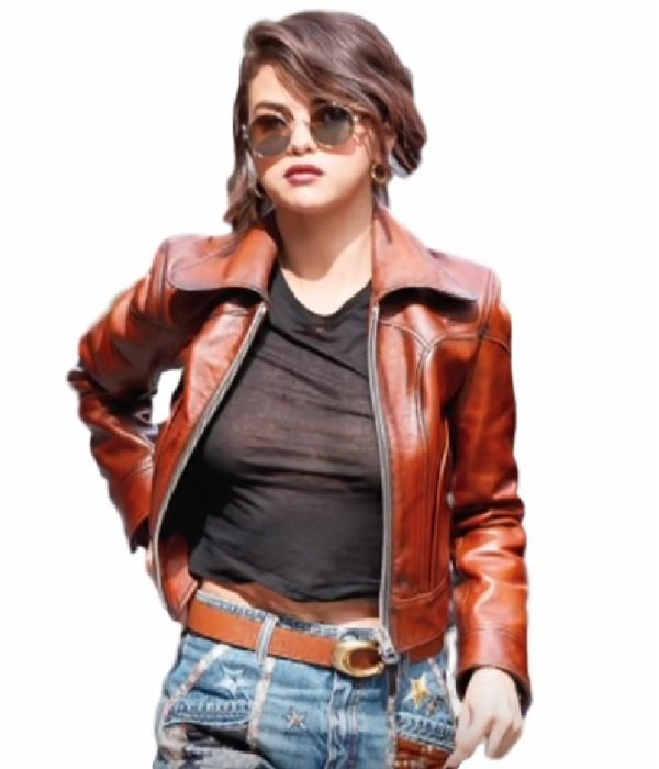 Selena Gomez Stylish Leather Jacket 1