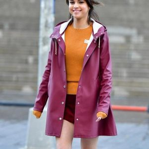 A Rainy Day in New York Selena Gomez Purple Raincoat 1