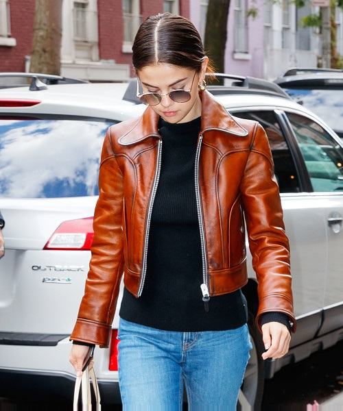 Selena Gomez Stylish Leather Jacket 2