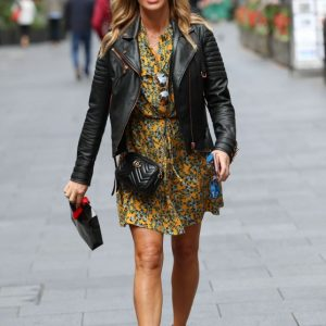 Amanda Holden Yellow Floral Dress and Leather Jacket