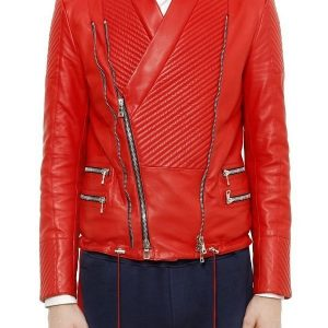 Justin Bieber Red Quilted Design Leather Jacket 1