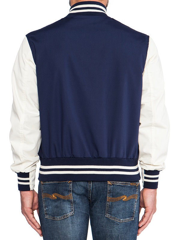 Navy Blue And White Letterman Jacket