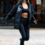 Bella Hadid Shows off Her Toned Tummy Black Cotton Jacket
