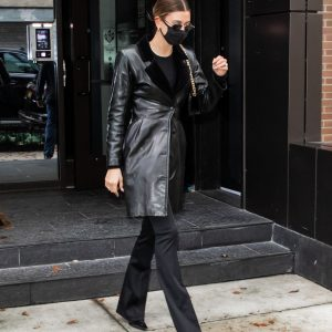 Hailey Bieber Leaves Her Black Real Leather Coat